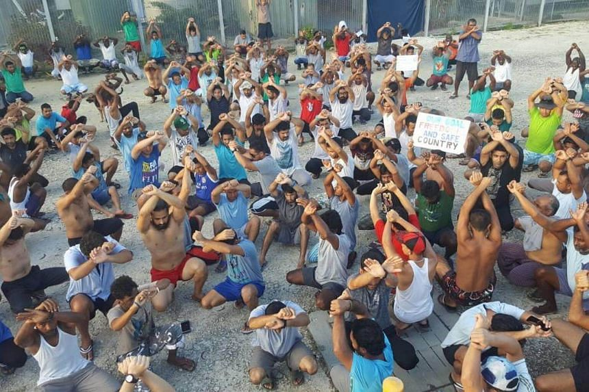Asylum seekers protest on Manus Island, Papua New Guinea.