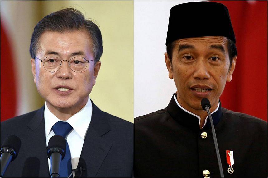 South Korean President Moon Jae In (left) will meet his Indonesian counterpart Joko Widodo in Bogor, West Java, today.