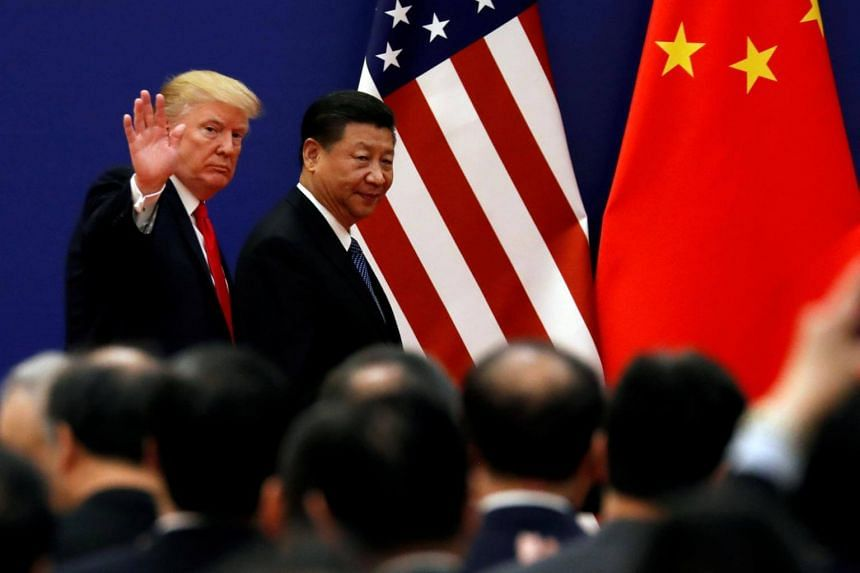 US President Donald Trump and his Chinese counterpart Xi Jinping meet business leaders at Beijing's Great Hall of the People.
