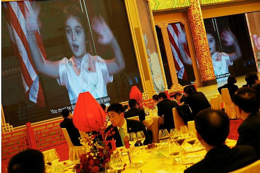Arabella Kushner sings traditional Chinese songs in a video as part of Trump's toast as China's President Xi Jinping hosts a state dinner at the Great Hall of the People in Beijing, China on Nov 9, 2017.