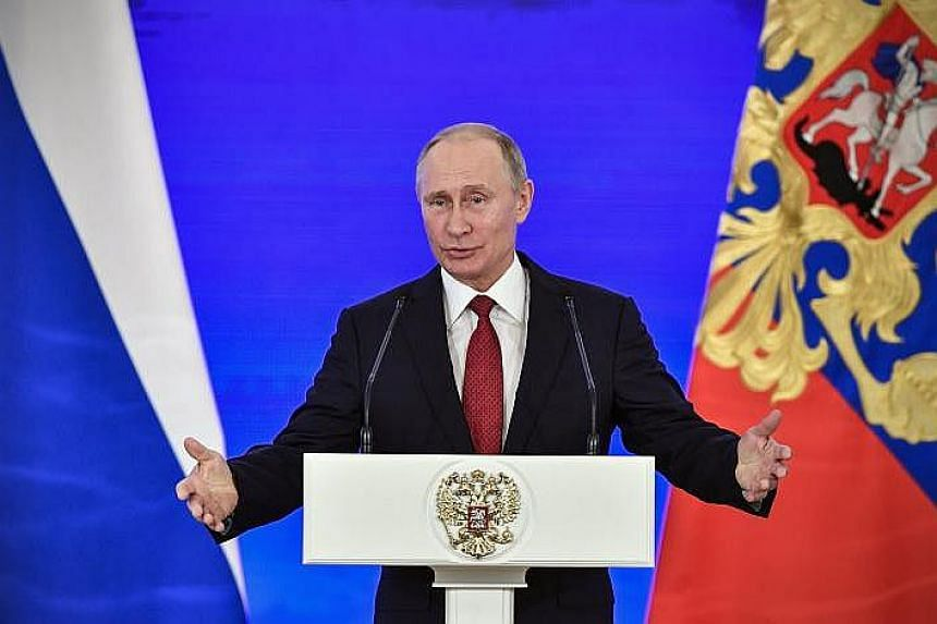 Russian President Vladimir Putin delivers a speech during a reception in Moscow, Russia, on Nov 4, 2017.