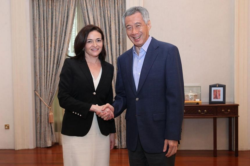 PM Lee Hsien Loong meets with Facebook COO Sheryl Sandberg during her stopover in Singapore.