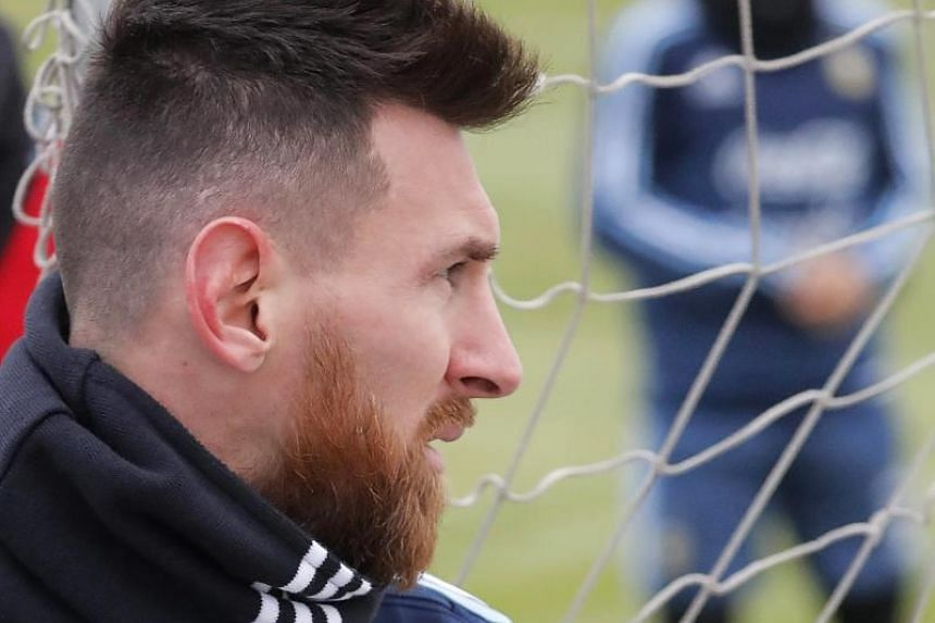 Argentinian national soccer team striker Lionel Messi attends his team's training session in Moscow, Russia, on Nov 7, 2017.