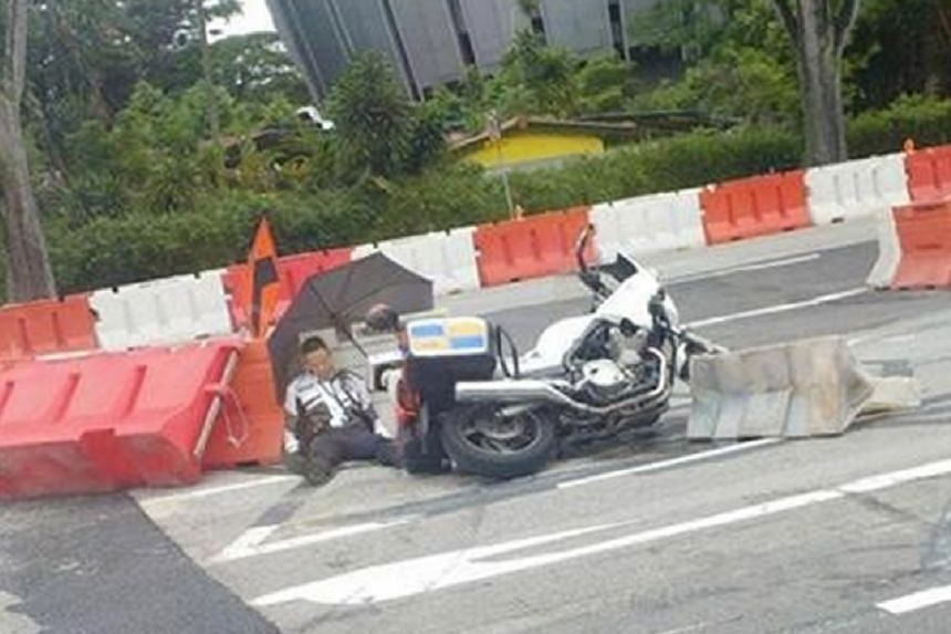 The officer was on a traffic police motorcycle, along Clementi Road towards Upper Bukit Timah Road around noon on Wednesday (Nov 8), when he had an accident.