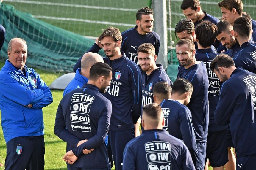 Italian national football team head coach Gian Piero Ventura (left) leading his team's training session at Coverciano sport centre in Florence, Italy on Nov 7, 2017. The Azzurri will face Sweden in their Fifa World Cup 2018 qualification playoff on N