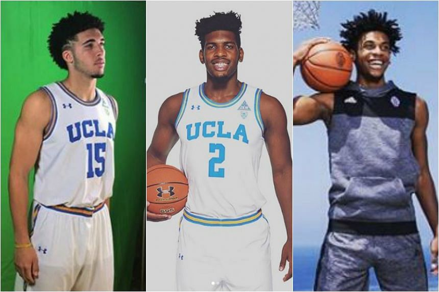 (From left) Freshmen LiAngelo Ball, Cody Riley and Jalen Hill were arrested in China for allegedly shoplifting.