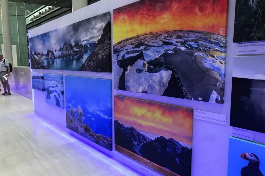 Some of the photos on display at a free Arctic Photography Exhibit held at the concourse of the National Museum of Singapore from Nov 9 to Dec 3.