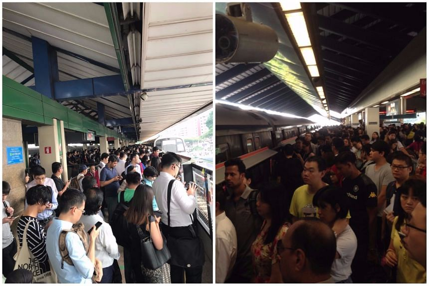 Crowded platforms at Yishun (left) and Admiralty stations during the morning rush hour on Thursday (Nov 9).