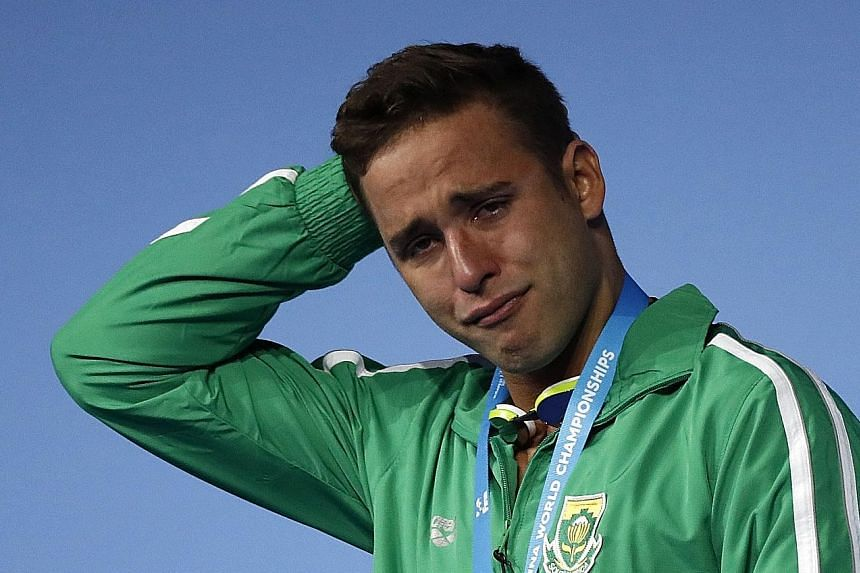 South African swimmer Chad Le Clos is overwhelmed with emotion after winning the 200m fly at the Budapest World Championships in July. He currently leads the overall World Cup standings, a full 111 points ahead of his nearest competitor.