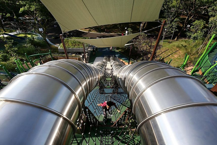 A 24-year-old woman suffered injuries to her head, shoulders and calf, after being thrown out of one of the 23m-long, 9m-tall slides atAdmiralty Park. Her adult sister also suffered bruises on her feet. All play equipment at the park has been certi