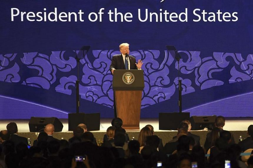 US President Donald Trump delivers a speech at the APEC CEO Summit in Danang, Vietnam on Nov 10, 2017