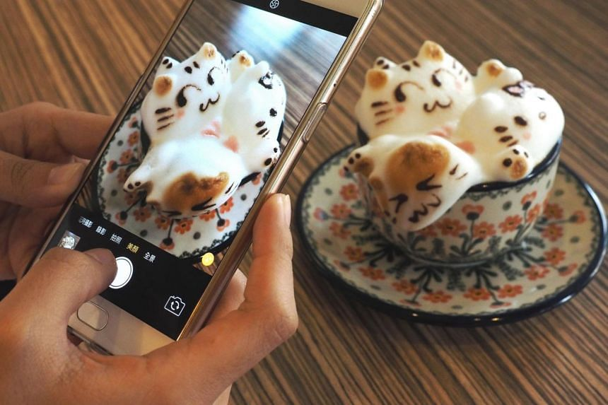 A customer uses her cellphone to photograph a 3D latte showing three kittens at My Cofi in Kaohsiung, southern Taiwan, on Nov 4, 2017. The 3D latte was made by barista Chang Kuei-fang, owner of My Cofi, who began making 3D creations of pets, cartoon