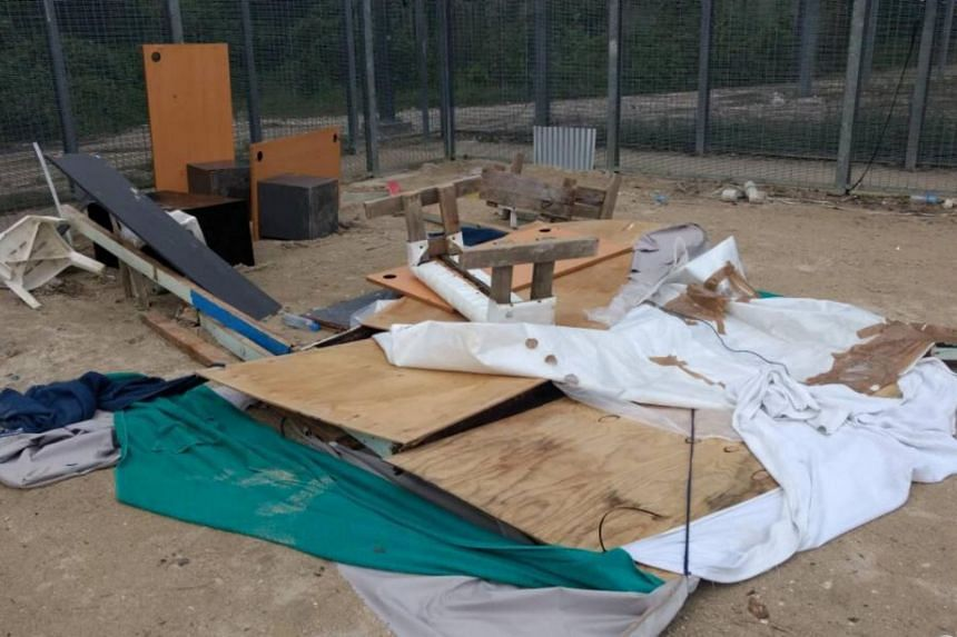 Dismantled objects lie on the ground at the asylum seekers detention centre on Manus Island, Papua New Guinea on Nov 10, 2017.