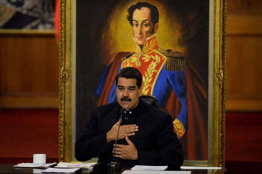 Venezuelan President Nicolas Maduro at the Miraflores Presidential Palace in Caracas on Oct 17, 2017.