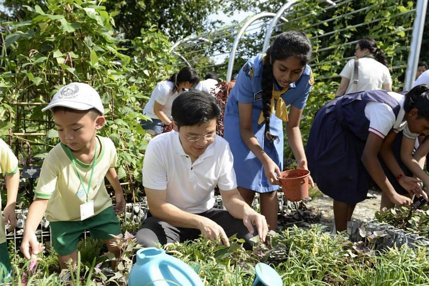 National Development Minister Lawrence Wong planting variegated chilli with Girl Guides and students at the Farm Zone in the new Jacob Ballas Children's Garden extension.
