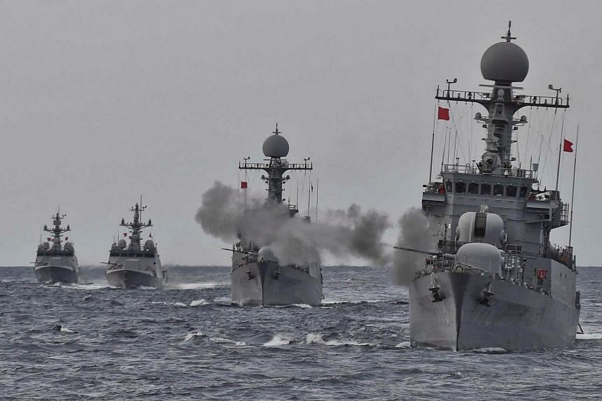 South Korea's naval ships take part in a military drill.