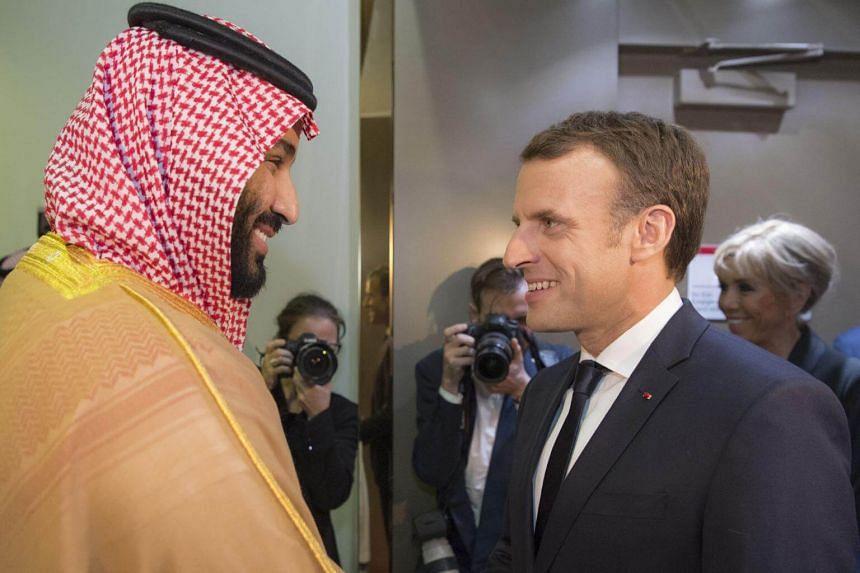 Saudi Crown Prince Mohammed bin Salman (left) receiving French President Emmanuel Macron in the capital Riyadh