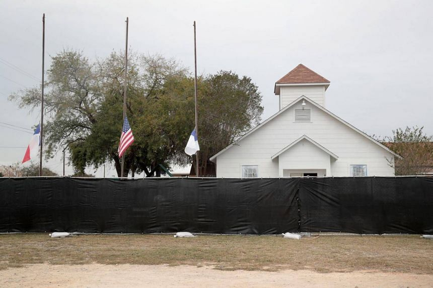 A tarp is wrapped around the First Baptist Church of Sutherland Springs as law enforcement officials wrap up their investigation into the shooting on Nov 9, 2017.