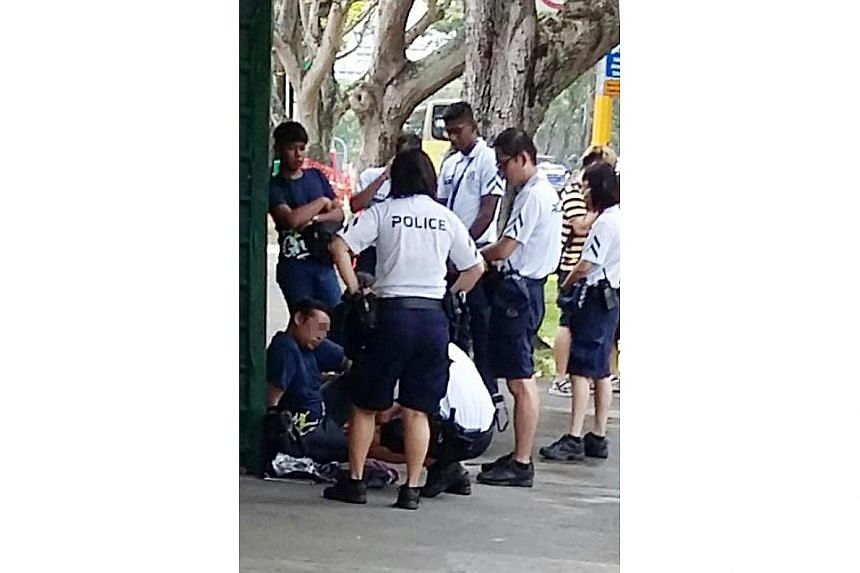 Police officers patrolling around 200 Bishan Road at 2.08pm conducted checks on the man, and found that he had a flick knife and substances that are believed to be drugs.