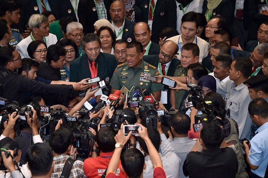 Military Chief General Gatot Nurmantyo speaks to the media in Jakarta about some 1,300 residents being held hostage by a two-dozen strong group that authorities said was part of the Free Papua Movement.