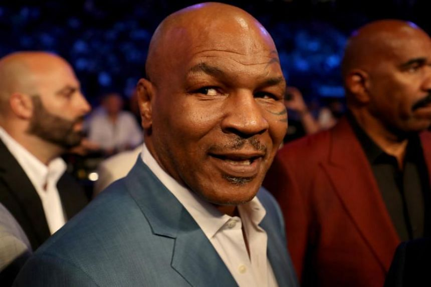 Former boxer Mike Tyson attends the super welterweight boxing match between Floyd Mayweather Jr. and Conor McGregor on Aug 26, 2017 at T-Mobile Arena in Las Vegas, Nevada.