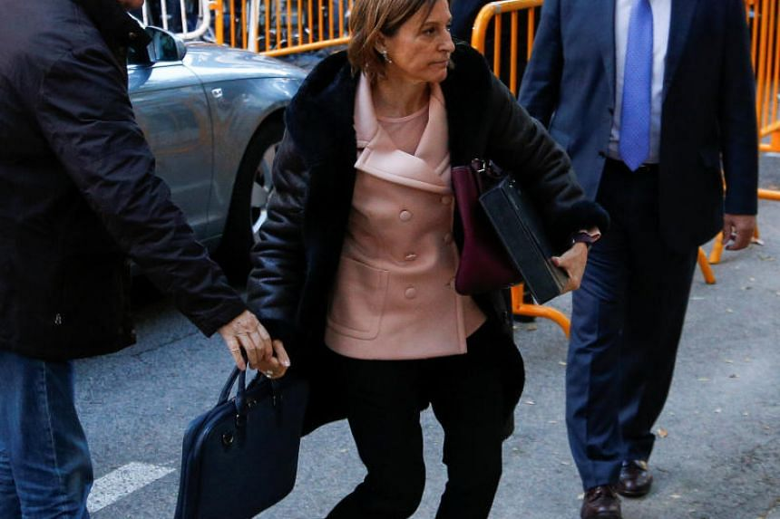 Carme Forcadell, Speaker of the Catalan parliament, arrives to Spain's Supreme Court in Madrid, Spain, on Nov 9, 2017.