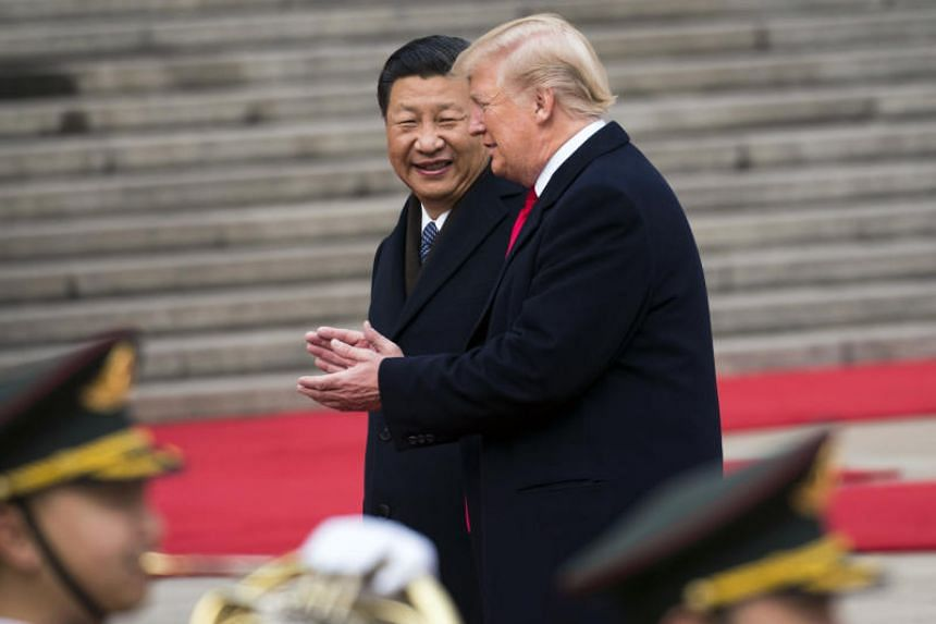 President Donald Trump with President Xi Jinping of China during a welcome ceremony in Beijing, on Nov 9, 2017.