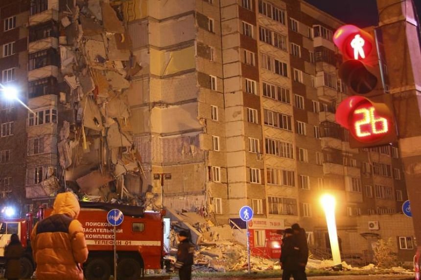 A damaged apartment block after one part collapsed in the town of Izhevsk, Russia on Nov 9, 2017.
