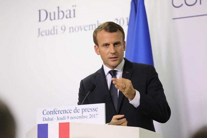 French President Emmanuel Macron gives a press conference in Dubai on Nov 9, 2017.