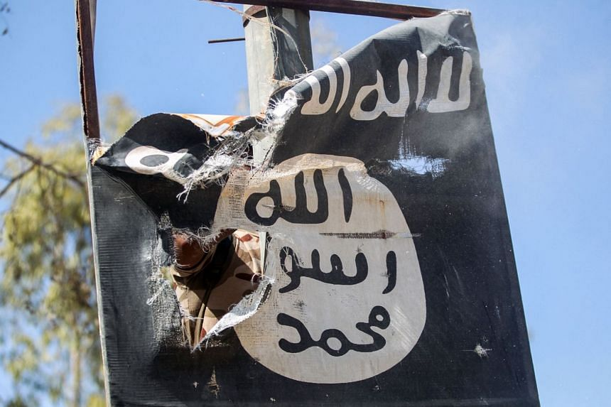 A sign on a lamp post bears the logo of the Isis group in the town of Tal Afar, west of Mosul.