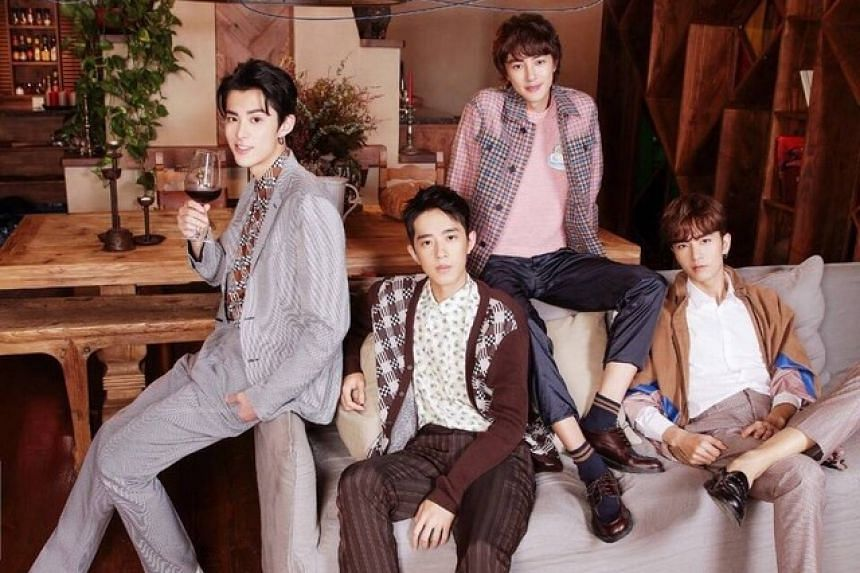 (From left) Dylan Wang (Daoming Si), Connor Leong (Meizuo), Darren Chen (Huazelei) and Caesar Wu take on the roles of the boys collectively known as F4 in the 2018 reboot of Meteor Garden.