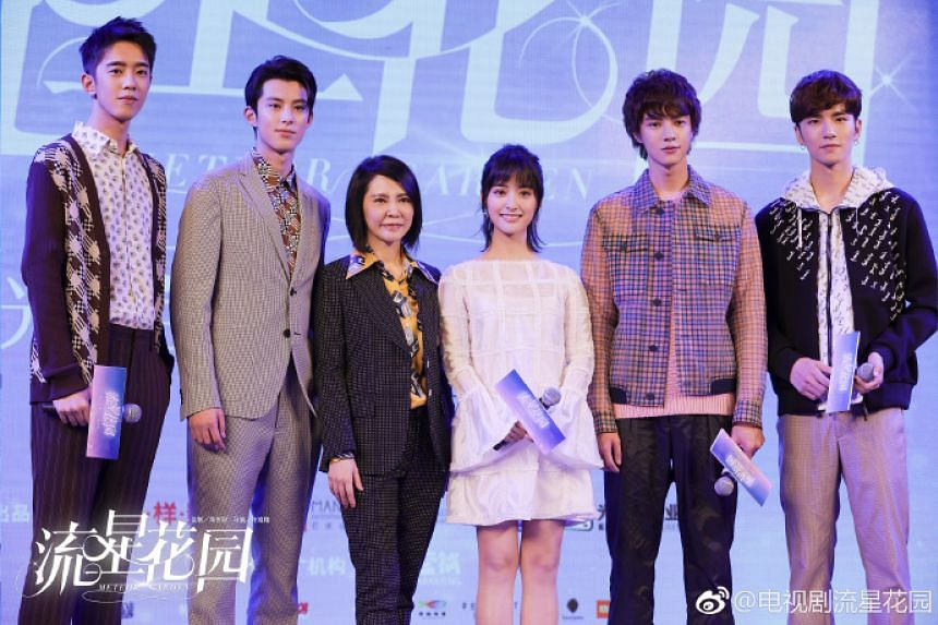 (From left) Connor Leong (Meizuo), Dylan Wang (Daoming Si), creator of the original show Angie Chai, Shen Yue (Shancai), Darren Chen (Huazelei) and Caesar Wu (Ximen) at the press conference on Nov 9, 2017, for the 2018 reboot of Meteor Garden.