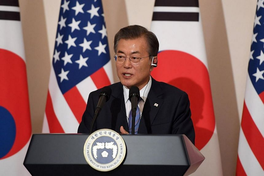 South Korea's President Moon Jae in speaks during a joint press conference at the presidential Blue House in Seoul, South Korea.