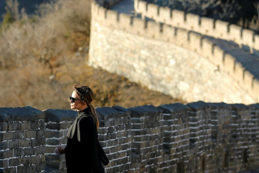 US first lady Melania Trump visiting the Mutianyu section of the Great Wall of China, in Beijing, on Nov 10, 2017.