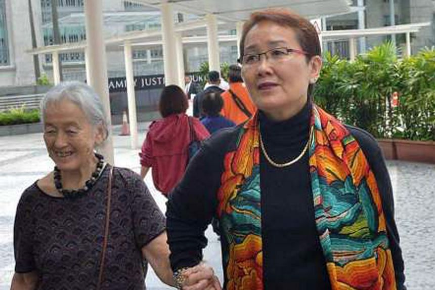 Madam Chung Khin Chun (left) and Madam Hedy Mok outside the courts in September 2016. The million-dollar fees were for legal services law firm Selvam rendered to the duo between August 2014 and December 2016.