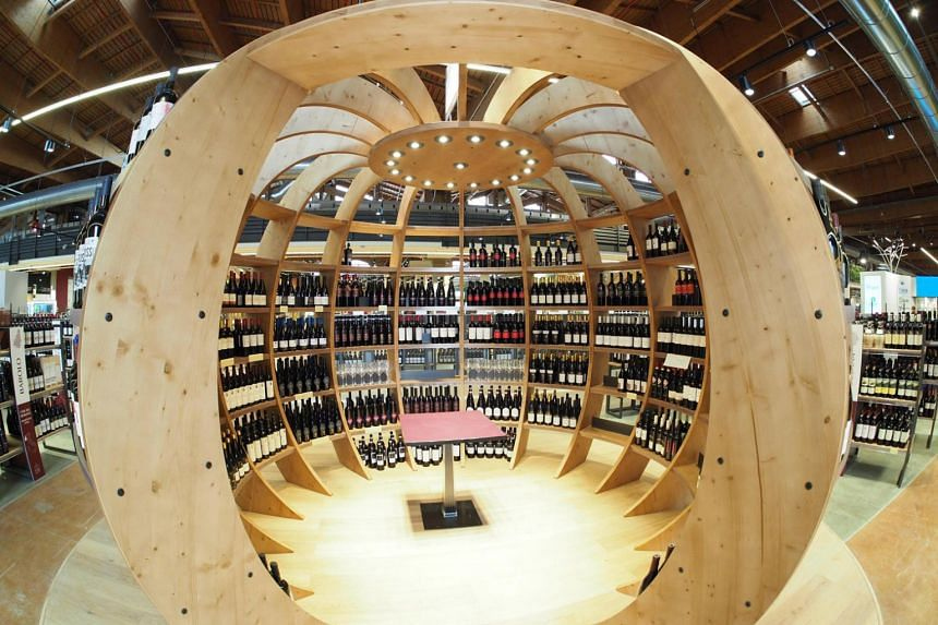 A wine kiosk at the Fico Eataly World Agri-Food Park in Bologna, Italy.
