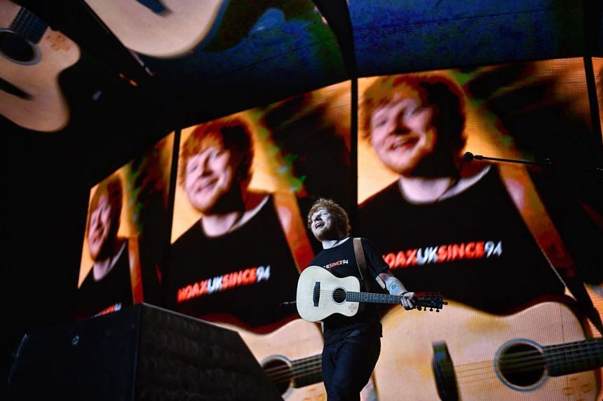 Ed Sheeran performs at his sold-out Singapore concert on Nov 11, 2017.