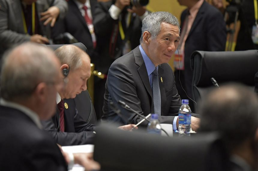 PM Lee Hsien Loong at the Apec Economic Leaders' Meeting Retreat session 1 at the Intercontinental Danang Resort.