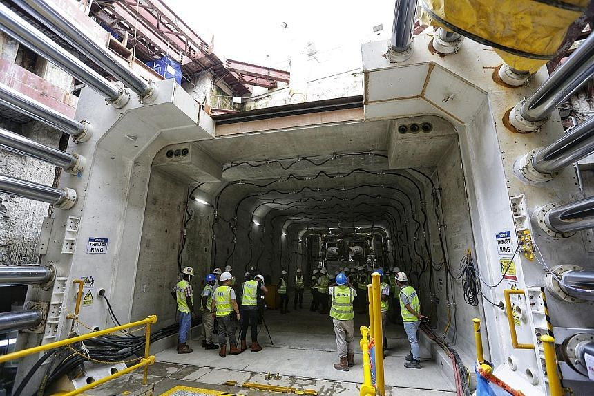 The 60m underpass linking Stevens MRT station to Singapore Chinese Girls' School was created with a rectangular tunnel boring machine. Work on the pedestrian underpass is expected to be completed by January next year.