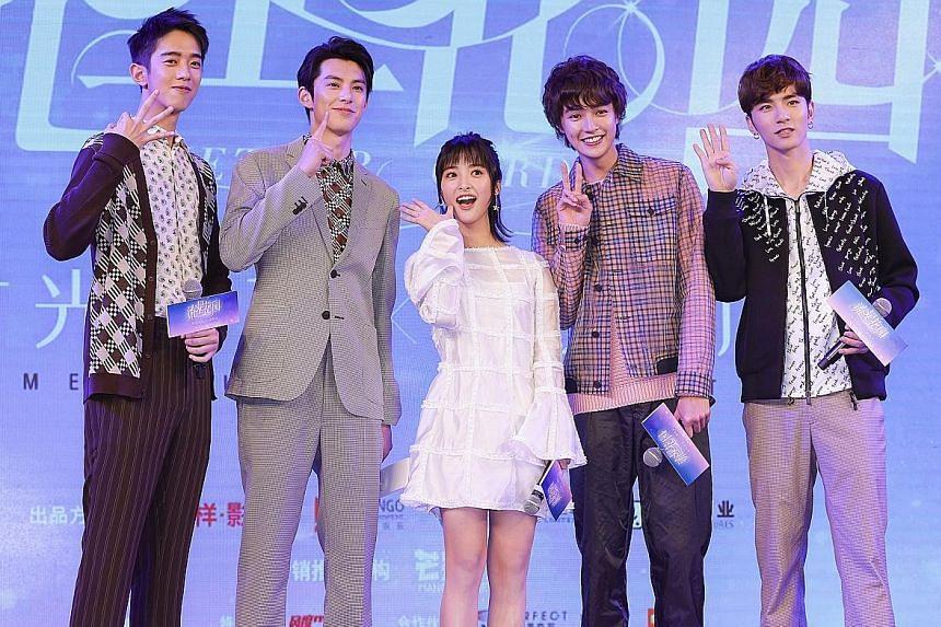 The latest Meteor Garden stars (from left) Connor Leong (Meizuo), Dylan Wang (Daoming Si), Shen Yue (Shancai), Darren Chen (Huazelei) and Caesar Wu (Ximen).