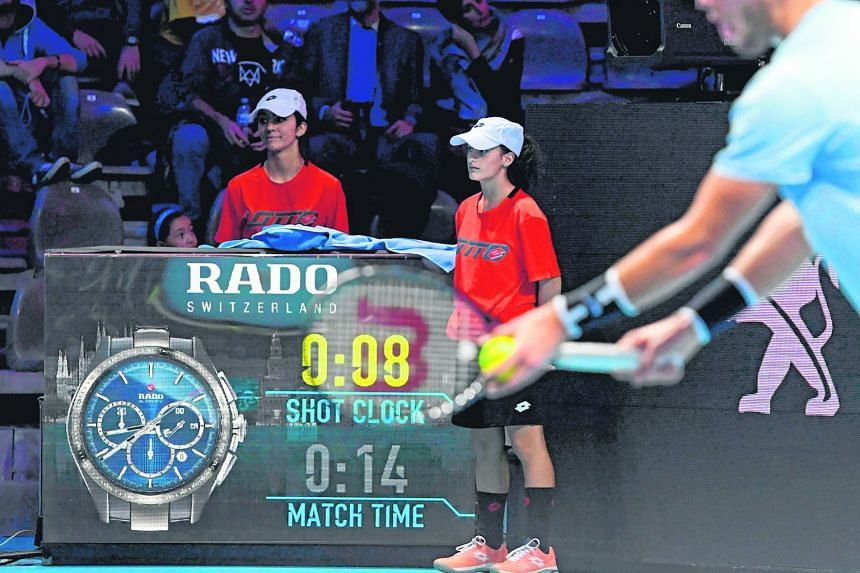 """The courtside """"shot clock"""", as seen during the Next Gen Finals in Milan this week. It is one of the reforms being tested at the event and ATP chief Chris Kermode has specified that the main benefit of the clock lies in """"taking away the dead time""""."""