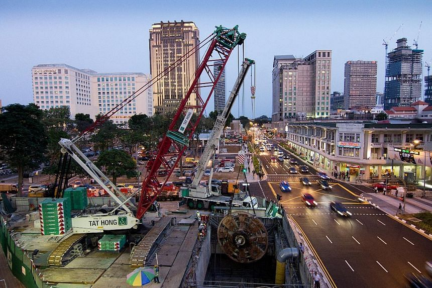 Tower cranes from Tat Hong Holdings. The company's revenue has tumbled and it has reported $77 million of combined losses for the past two financial years, according to reports.
