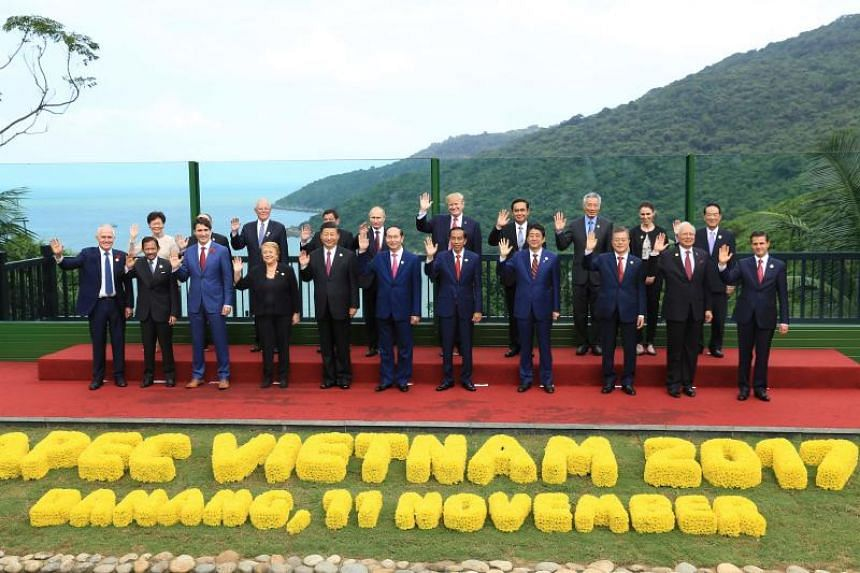 """Leaders pose for the """"family photo"""" during the Asia-Pacific Economic Cooperation (Apec) leaders' summit in the central Vietnamese city of Danang on Nov 11, 2017. (From left) Australia's Prime Minister Malcolm Turnbull; Brunei's Sultan Hassanal Bolki"""