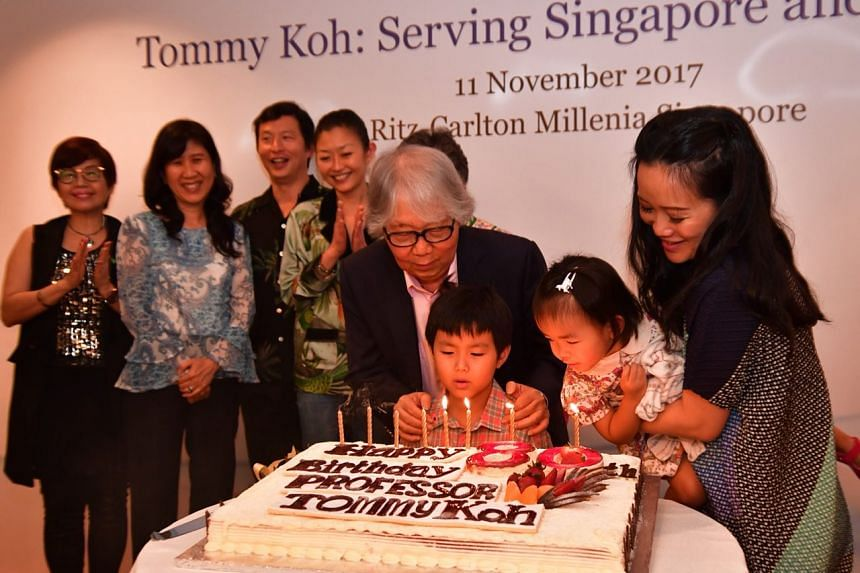 Professor Tommy Koh celebrates his 80th birthday with his family after the book launch of Tommy Koh, Serving Singapore And The World.