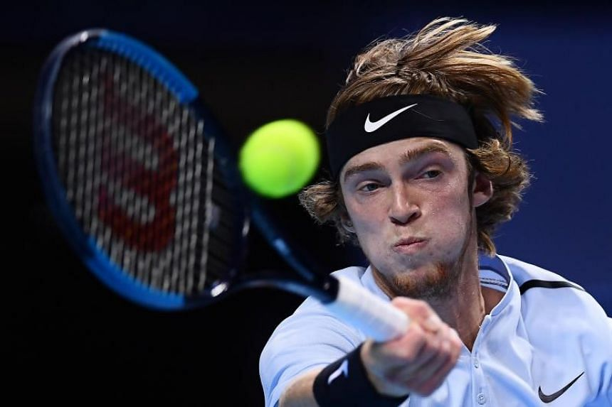 Russia's Andrey Rublev at the men's singles semi final match of the first edition of the Next Generation ATP Finals in Milan on Nov 8, 2017.