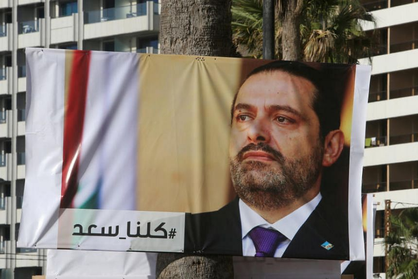A poster depicting Lebanon's Prime Minister Saad al-Hariri, who has resigned from his post, is seen in Beirut, Lebanon, on Nov 10, 2017.