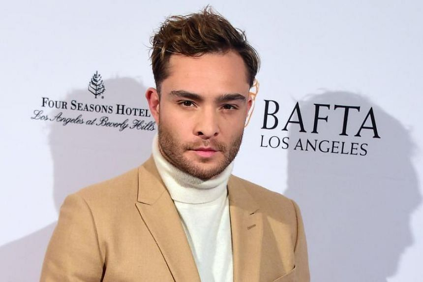 British actor Ed Westwick posing on arrival for 2016 British Academy of Film and Television Arts Los Angeles Tea Party in Beverly Hills, California, on Jan 9, 2016.