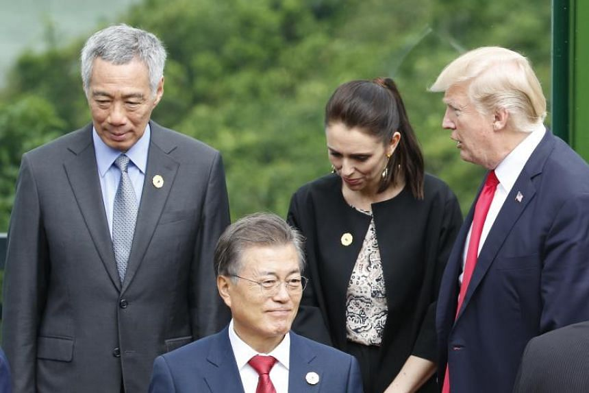 (Left to right) Prime Minister Lee Hsien Loong, South Korea's President Moon Jae In, New Zealand Prime Minister Jacinda Ardern and US President Donald Trump at the 25th Asia-Pacific Economic Cooperation (Apec) summit in Danang, Vietnam on Nov 11, 201