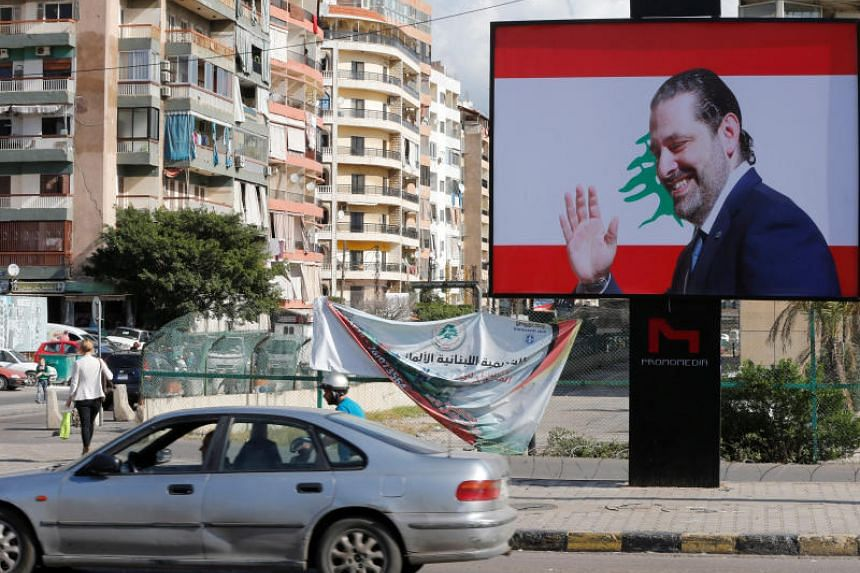 A billboard depicting Lebanon's Prime Minister Saad al-Hariri, who has resigned from his post, is seen in Beirut, Lebanon, on Nov 11, 2017.