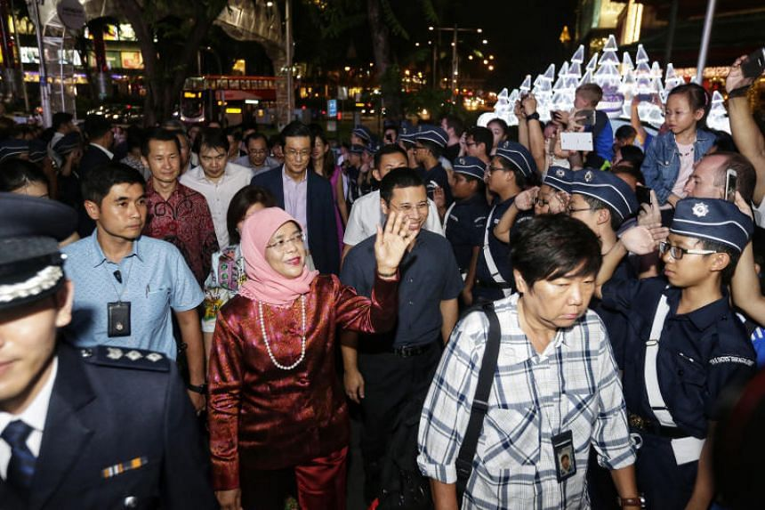 President Halimah Yacob officiated the light-up ceremony.